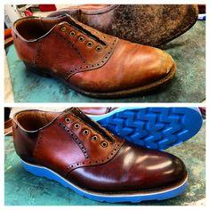 Before & After of  Aldens' saddlebacks with  babyblue soles