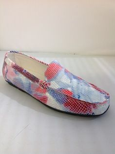 1 Clarus 9852Q - B T -  Clarus from Italy.  Snakeskin floral Moccasin style in Yellow and Pink.    Sizes range 36.5 - 41.