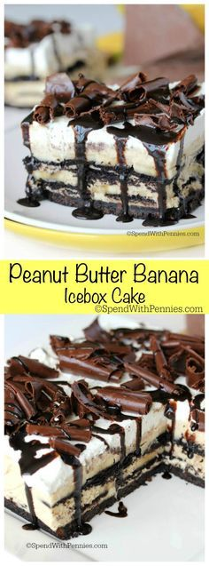 Peanut Butter Banana Icebox Cake! Chocolate wafers between layers of peanut butter cream and bananas make a no bake dessert that is deliciously light and decadent at the same time!