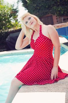 Red and White Polka dot Retro One Piece Swimdress swimsuit Maillot Pin Up Made to Order. $98.50, via Etsy.