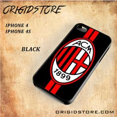 AC Milan Football Club FC Black White Snap On 3D For Iphone 4/4S Case