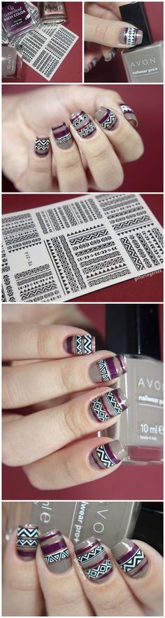 Specification: brand new Quantity: 1 Sheet Pattern: as the picture show Package Contents: 1 pc Tribal Geo Pattern Water Decals Nail Stickers Nails Application: clean and polish the finger Crazy Nail Art, Crazy Nails, Cute Nail Art, Fancy Nails, Cute Nails, Pretty Nails, Garra, Hair And Nails, My Nails