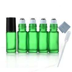 Elfenstall- 5pcs Thick 5ml(1/6oz) Roll on Glass Bottle Frosted green for Essential Oil Empty Aromatherapy Perfume Bottle - Refillable w/ Stainless Steel Roller Ball 3ml Pipette dropper -- More info could be found at the image url. (This is an affiliate link) #DecorativeAccessories