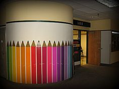 Cool idea for the specials hallway or bulletin board, could be a neat idea for the beginning of the school year- each student makes a giant crayon, could put creative/educational labels on the crayons...