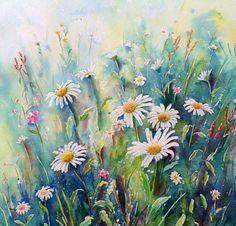 "Original watercolour painting daisy field 12"" x12"" wildflower meadow landscape watercolor nature"