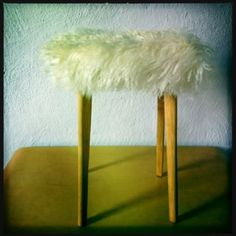 love the contrast between the fur and the skandi wooden legs