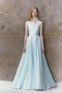 Light blue satin organza gown with white ruffle neck Swarovski embellished yoke from HONOR's Resort 2015 collection.