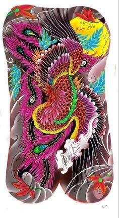 Japanese Tattoo Designs, Japanese Tattoo Art, Dragon Koi Tattoo Design, Fenix Tattoo, Tattos, Adult Coloring, Oriental, Bird, Tattoos