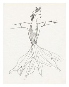 Yves Saint Laurent Sketch of a costume for the ballet La