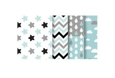 Cotton Fabric - Stars, Chevron, Raindrops, Cloud or Solid Gray - Misty Mint Gray - By the Yard 69817