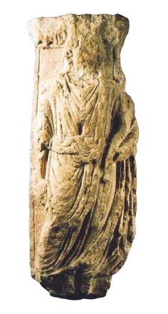 Stone carving depicting a draped female figure, though to depict Abundantia or a Genius Loci (the guardian spirit of a place).  Found on Monks Road in Lincoln.  In the collections of The Collection.