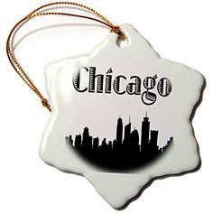 3dRose orn_157374_1 Chicago City Skyline Snowflake Porcelain Ornament, 3-Inch >>> Amazing deals just a click away