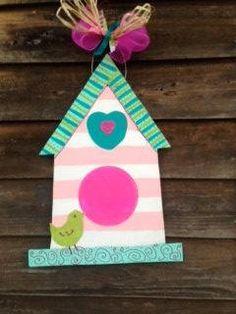 Cute Bird House Wooden Door/Wall Hanger by SimplyShabbyByBella, $15.00
