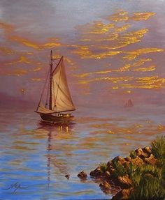 "Red Skies at Night by Curt Ives Oil ~ 24 x 20 I really enjoyed how this turned out. It's a simple painting. As the saying goes, ""Red skies at night, sailors delight"". I can picture this sailor coming in after a day in the bay to calm seas and warm summer nights."