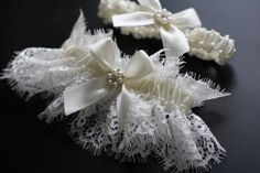 Ivory Bridal Garter Set Ivory Lace Wedding Garter by AlexEmotions