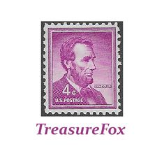 Pack of 10 .. 4c Abraham Lincoln stamp of 1954.. Vintage Unused US Postage Stamps. Civil War President | Honest Abe | Liberty Stamps by TreasureFox on Etsy