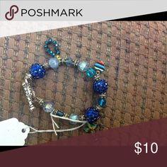 Heart and cross charm bracelet Nice blue beaded charm bracelet Jewelry Bracelets