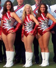 Majorettes for OHS High School, wearing custom sequined leotards by Satin Stitches.
