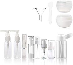 Clear Plastic Empty Containers for toiletries - TSA Approved Airline travel Accessories Bottles and jars BPA-free Small Cosmetic Containers for Makeup with toiletry Zipper Bag Set 13 Pcs Kingcorey Cosmetic Containers, Cosmetic Bottles, Travel Size Bottles, Airline Travel, Bottles And Jars, Free Travel, Zipper Bags, Toiletry Bag, Travel Accessories