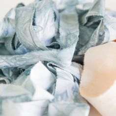 How to rip and ink dye your own muslin ribbon! When I Dream, Assemblages, Silk Ribbon, Art Journals, Fabric Crafts, Pumpkins, Linens, Diy Wedding, Embellishments