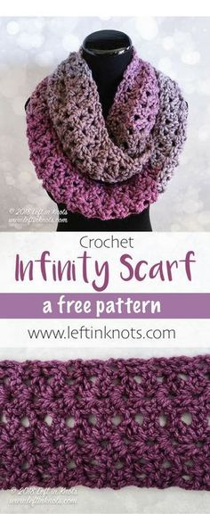 free crochet pattern - takes just one skein of Caron Tea Cakes or approx. 204 yards of your favorite Super Bulky Weight (Category yarn. Lion Brand Wool Ease Thick and Quick would work well too! I hope you enjoy the Frosted Berry Infinity Scarf Poncho Au Crochet, Crochet Cowl Free Pattern, Bonnet Crochet, Crochet Beanie, Crochet Scarves, Crochet Clothes, Crochet Stitches, Crochet Cowls, Knitting Patterns