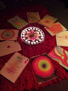 Red Tent Circle Women create beautiful pastel artworks after a Chakra Dance Spring Clean! www.thewomenshearth.com.au
