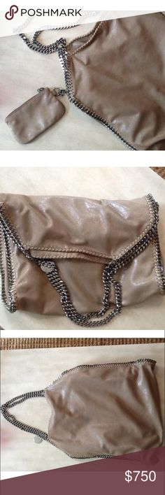 Stella McCartney large Falabella Fold Over Tote Gorgeous, like new large Stella McCartney Falabella Fold Over tote in beige with silver chain hardware. Fully lined with Stella McCartney logo print nylon and top snap closure.   Features an inside pocket with matching attached coin purse. No visible signs of wear. Stella McCartney Bags Totes