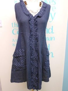 QUIRKY NAVY LAGENLOOK LINEN LAYERING TUNIC DRESS WITH WHITE SPOTS UK SIZES 8-16 | eBay