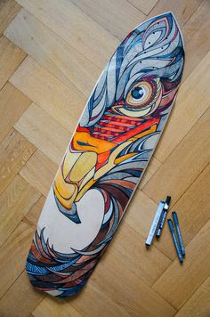 09/04/15 - Red Eagle Painted Longboard - Andreas Preis