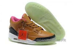 quality design e9d9a a7a2e Buy New Brown Pink Shoes Glow In The Dark Air Jordans 3 Shoes Store Air  Jordan