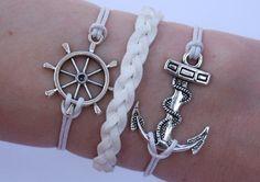 Antique Silver Bracelet, Anchor Bracelet, SAilor Bracelet