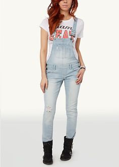Skinny Washed Overalls | rue21