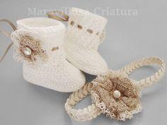 Patucos - Zapatos de bebé y cinta de pelo bebé para bautizo - hecho a mano por…