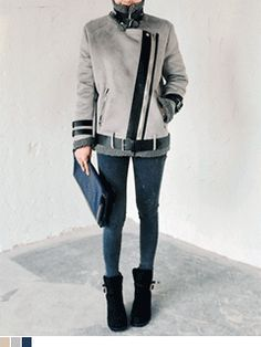Off-Center Zip Shearling Jacket