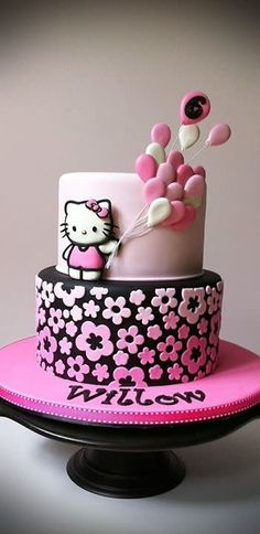 This cake was for a little girl who I've been doing cakes for for years. When I heard she was going with the Hello Kitty theme this year I was SO excited!! TFL!