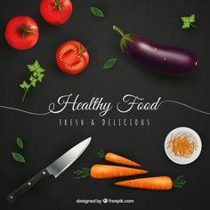 Fondo de alimentos saludables en el estilo realista Vector Gratis