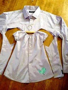 Ideas Recicladas: Camisas convertidas en vestido para niña y mujer