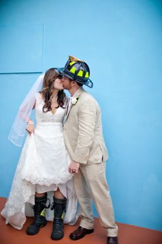 Cute wedding photo op for firefighter grooms. Photography by dillonphoto.com