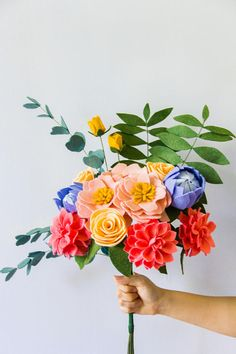 Felt flowers consist of dahlias, protea, ranunculus, hibiscus, rose buds, palm leaves, and eucalyptus stems. All felt used are quality wool-based and purchased from this store: https://www.etsy.com/shop/sweetemmajean?ref=shop_sug...