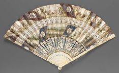 "1755-1760, England (?) - Découpé ""cabriolet"" fan - Skin leaf découpé and painted in watercolor; carved, pierced and painted ivory sticks; paste"