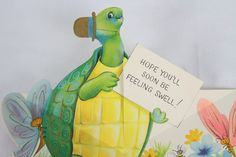 Vintage Rare Greeting Card Antique Turtle Animal 50s or 60s Get Well Paper Old 4