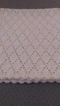 Handmade Crochet Pure White Diamond Pattern by AnnaKellyCreations