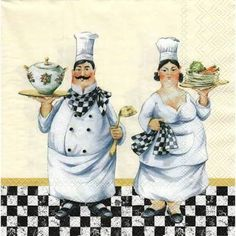 4 Paper Decoupage Napkins Use For Crafts Mixed por stampsandmore Fat Chef Kitchen Decor, Kitchen Art, Chef Pictures, Kitchen Pictures, Grand Chef, Food Painting, Printed Napkins, Le Chef, Decoupage Paper