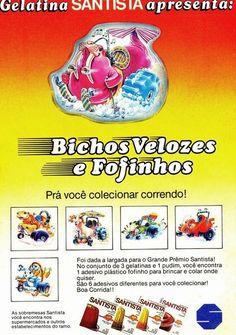 Bichos Velozes e Fofinhos - Antiga Promoção da Gelatina Santista #nostalgia #anos80