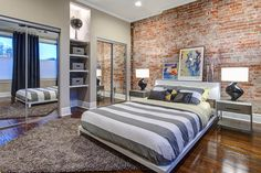 Architecture Creative Decor With Mirrored Closets In A Modern Industrial Bedroom Amazing Modern Spaces with Mirrored Closet Doors Brick Wall Bedroom, Brick Accent Walls, Exposed Brick Walls, Brick Wallpaper Bedroom, Grey Brick, Faux Brick, Bedroom Ceiling, Faux Stone, Bedroom Lighting