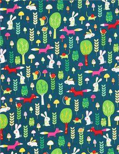 dark green forest animal fabric by Robert Kaufman 3