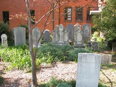 ! The cemetery outside of the Greensboro historical museum (previously First Presbyterian Church.)