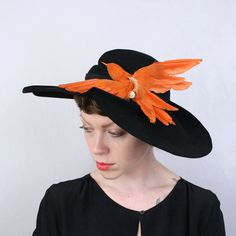 Vintage 1940s Dramatic Avant Garde Hat with Bird by LivingThreadsVintage