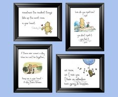 Winnie the Pooh Quotes  set of 4 printable 8x10 by SaturdayDesigns, $10.00 --- Love, but problem is that our theme is Disney Pooh, not Classic Pooh.  Hmm.  Can I blend the two?