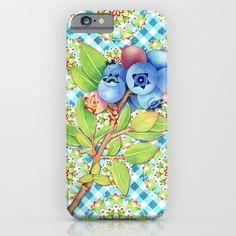 Maine Blueberry Gingham Mandala iPhone & iPod Cases by #PatriciaSheaDesigns